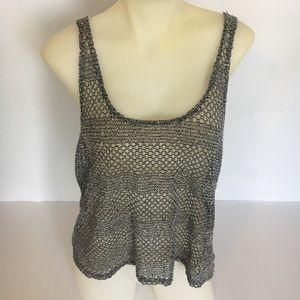 staring at stars Sz Large Crochet Top Black white